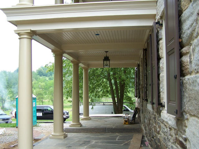 Completed portico framing