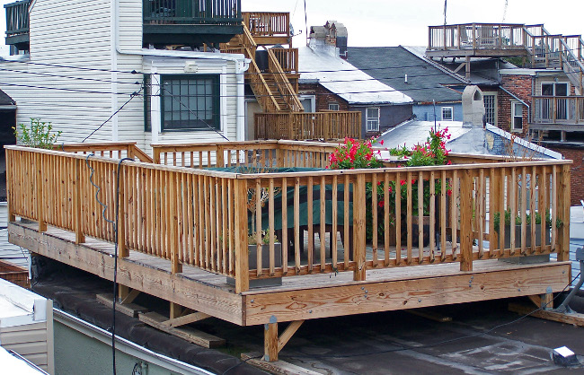 Rooftop Decks on outdoor metal stairs